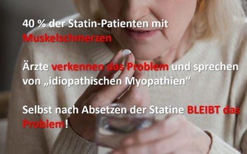 Frau nimmt Medikament - Statine - Muskelschmerzen